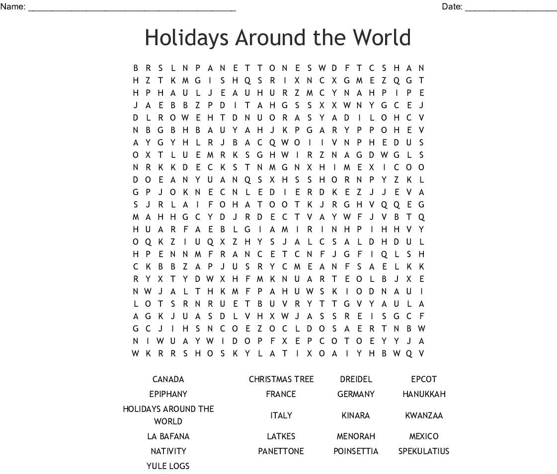 Holidays Around The World Word Search