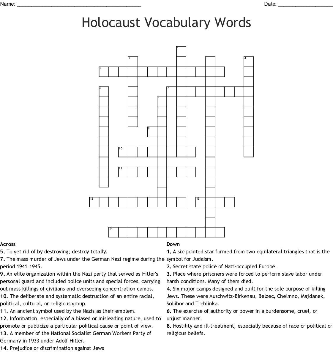 Holocaust Vocabulary Words Crossword