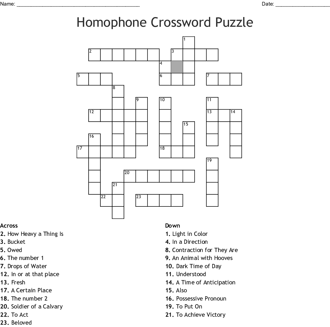 Homophones Word Search