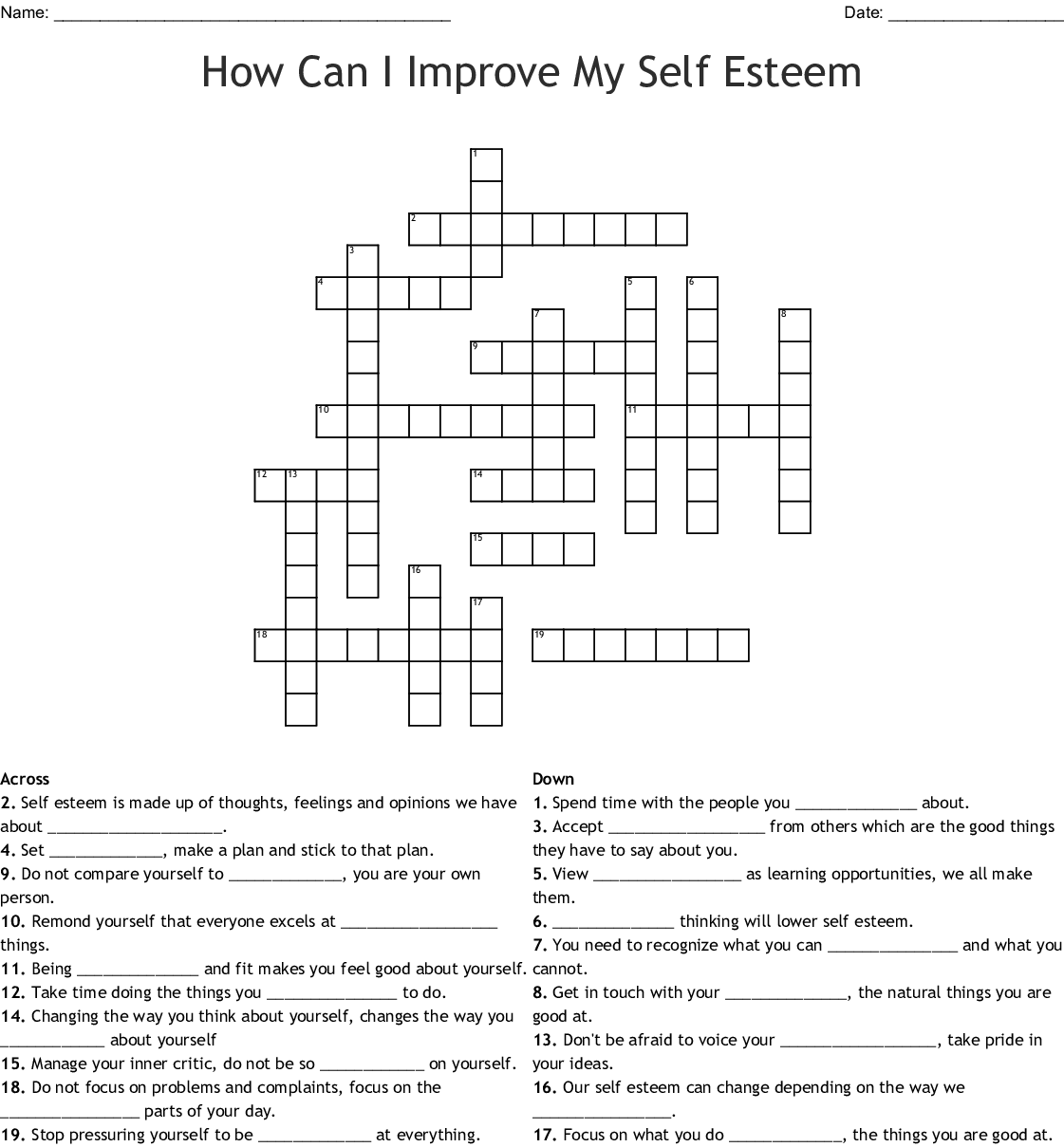 How Can I Improve My Self Esteem Crossword