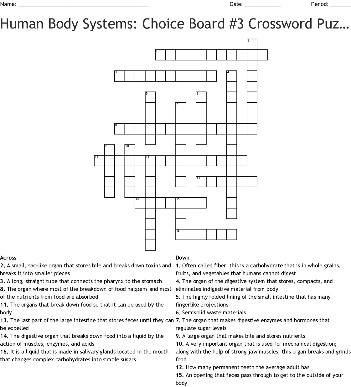 Human Body Systems Choice Board 3 Crossword Puzzle On