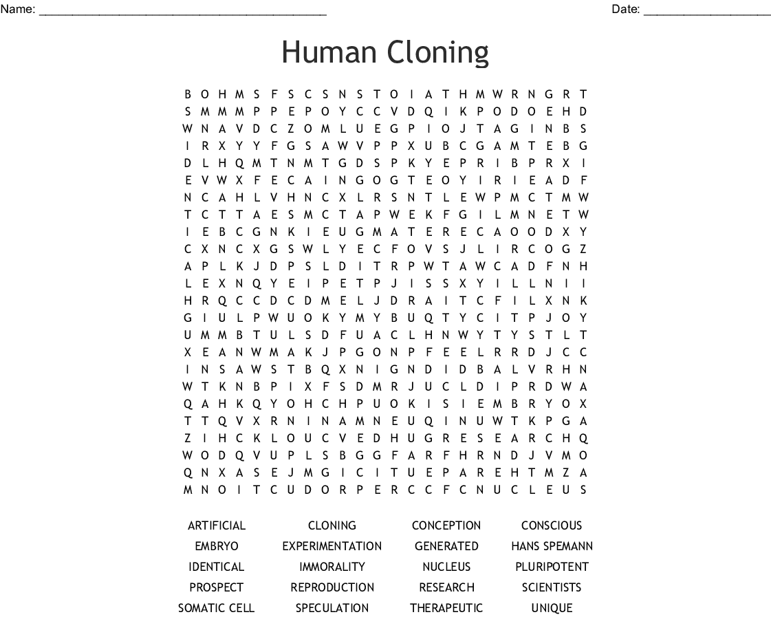 Human Cloning Word Search