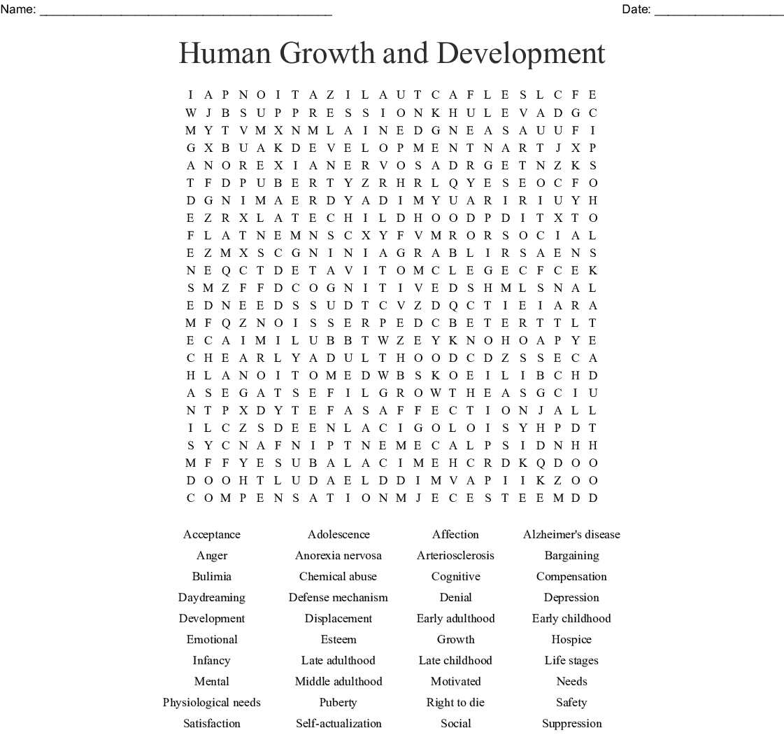Human Growth And Development Word Search