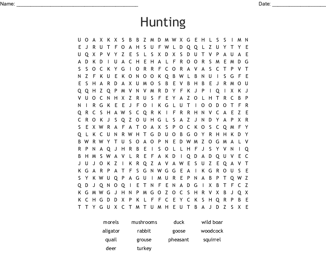Hunting And Fishing Word Search