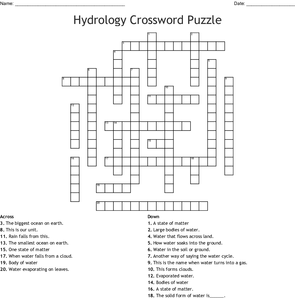 Hydrology Crossword Puzzle