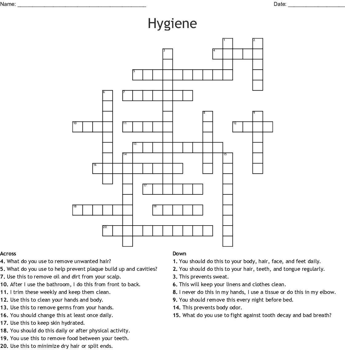 Hygiene Crossword