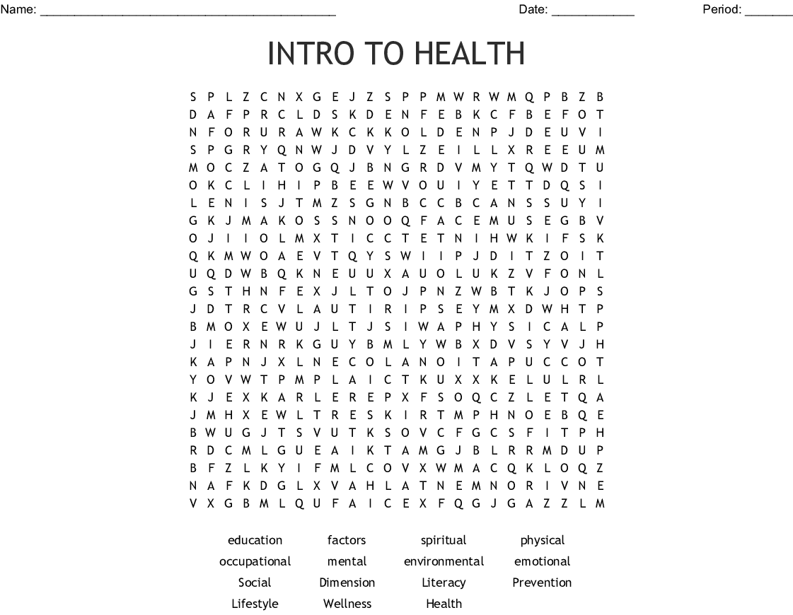 Intro To Health Word Search