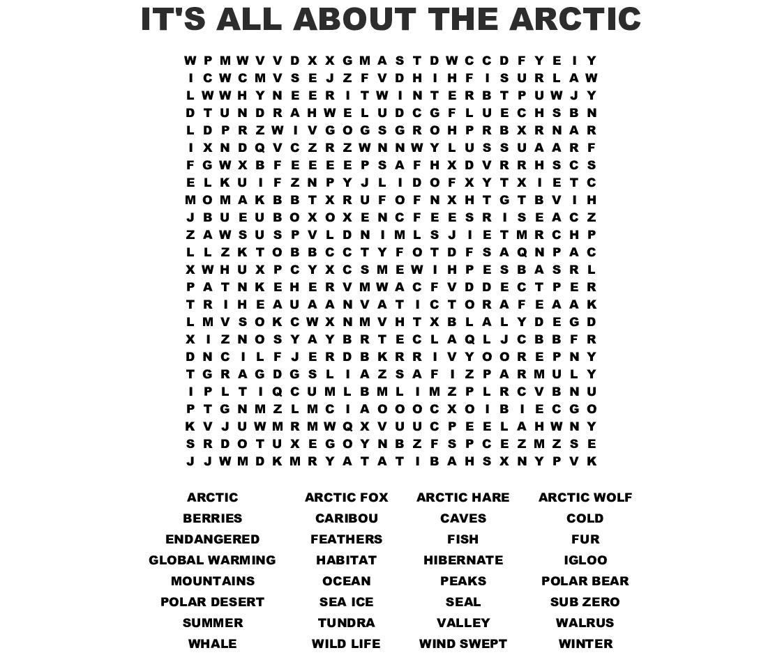 It S All About The Arctic Word Search