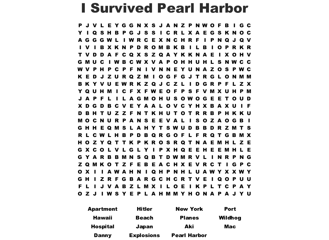 I Survived Theing Of Pearl Harbor Word Search