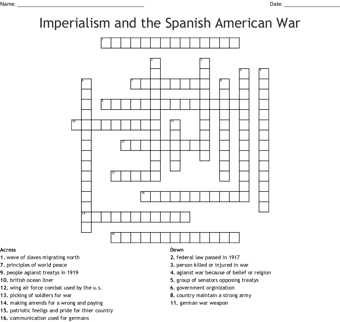 The Home Front During Ww1 Crossword