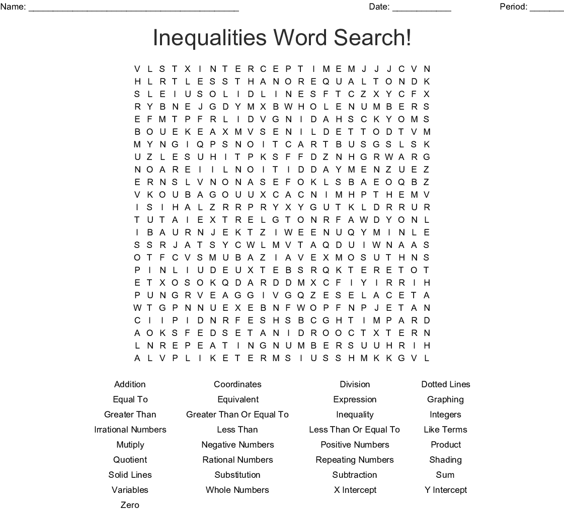 Inequalities Word Search