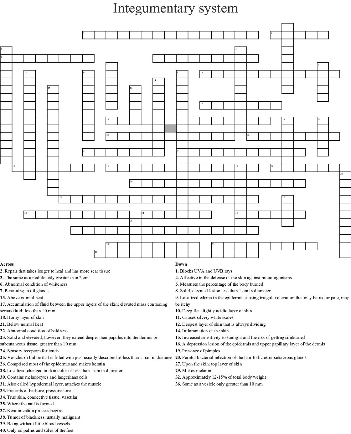 Integumentary System Crossword