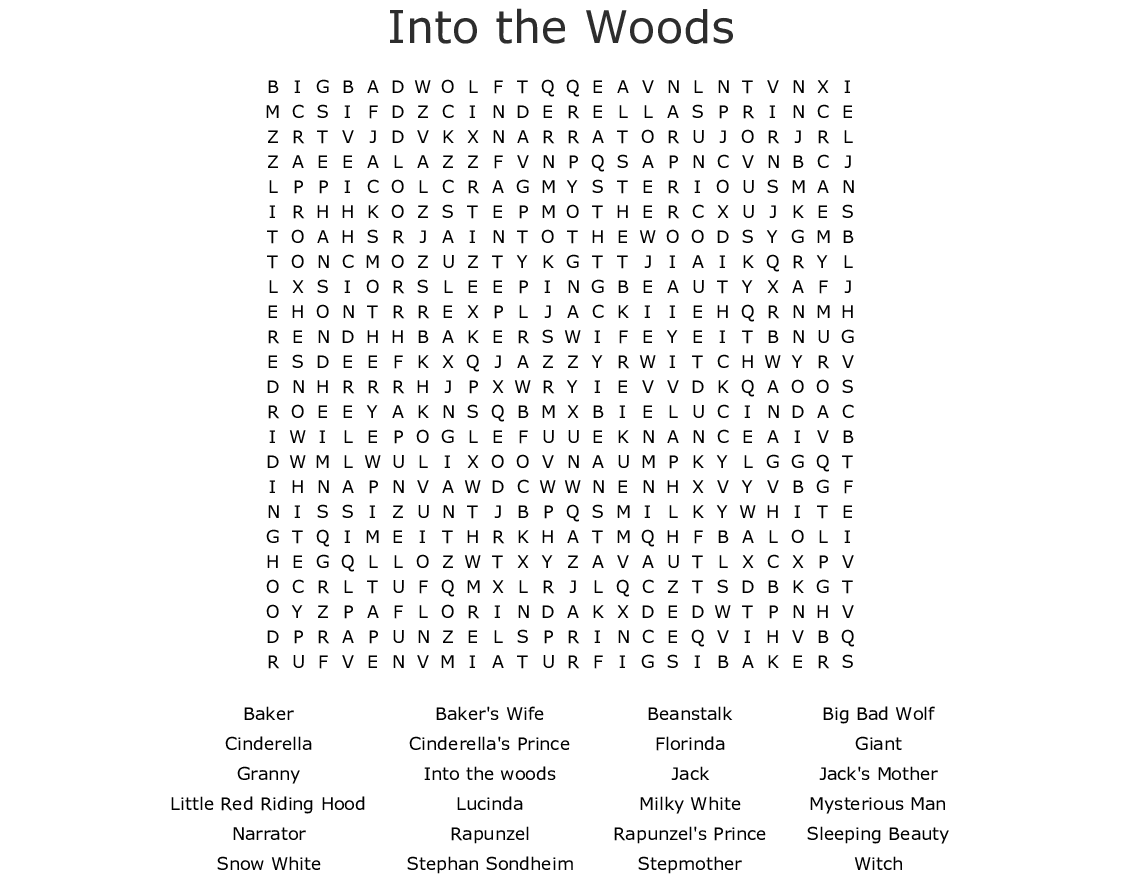 Into The Woods Word Search