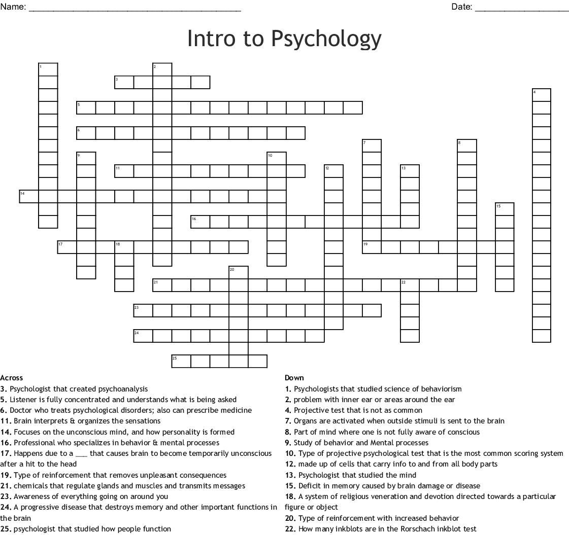 Intro To Psychology Crossword