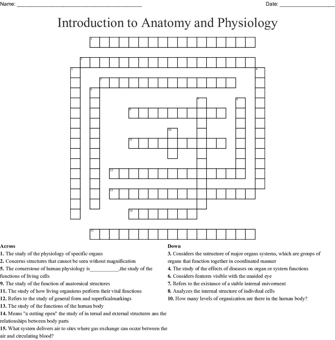 Anatomy Amp Physiology Crossword