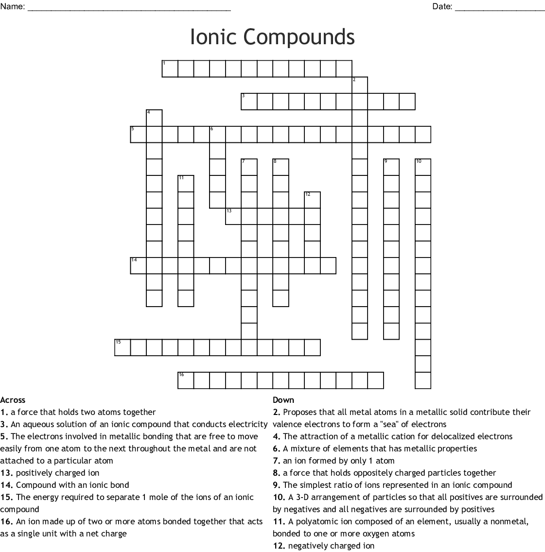 Ionic Amp Covalent Bonding Word Scramble