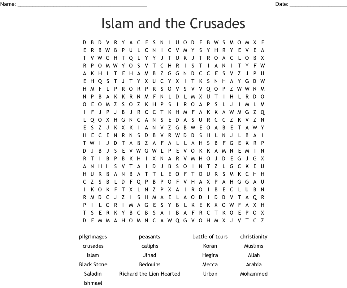 Islam And The Crusades Word Search
