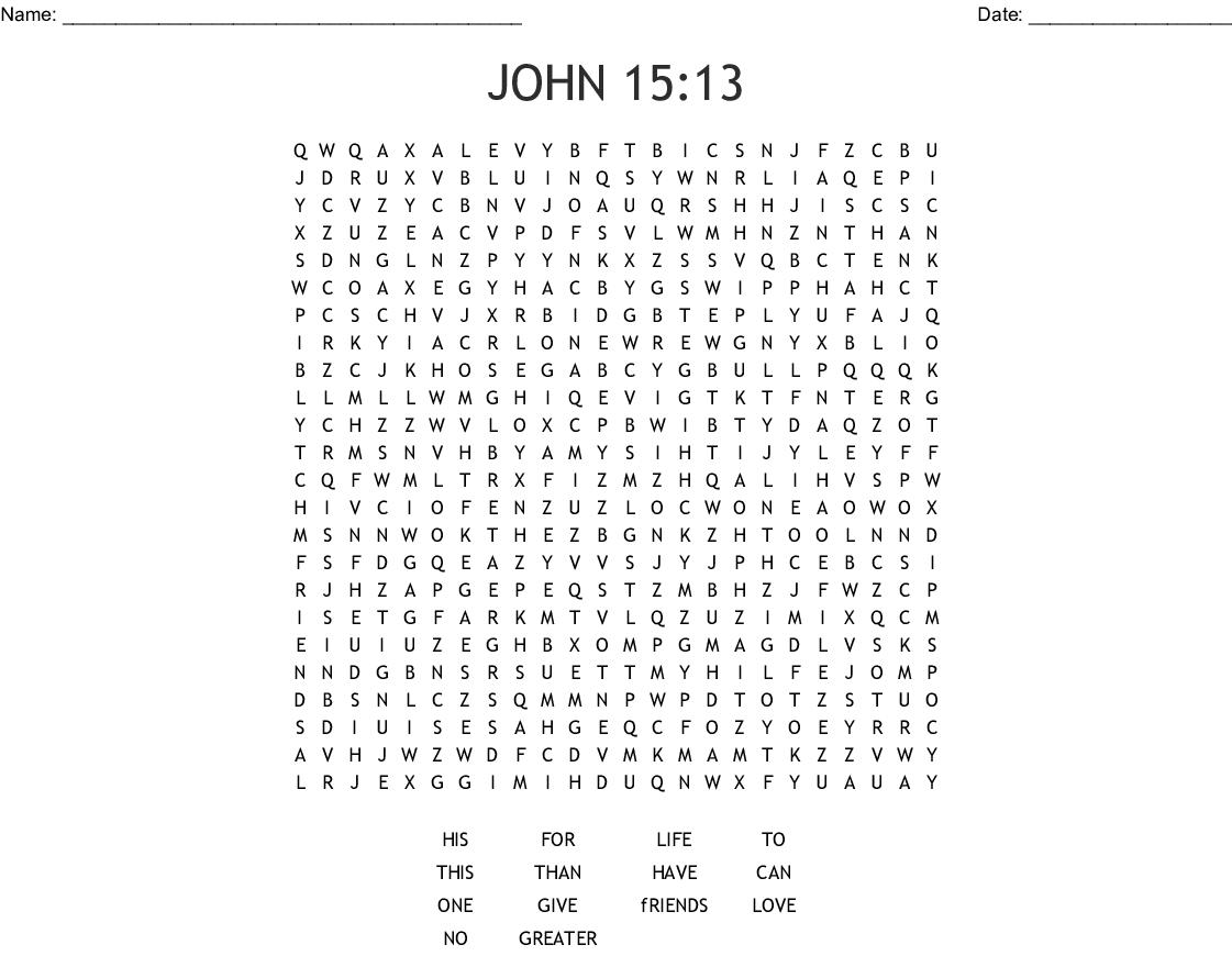 John 15 13 Word Search