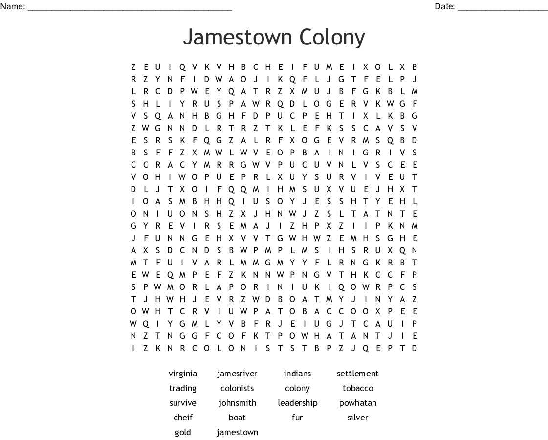 Jamestown Worksheets For 4th Grade