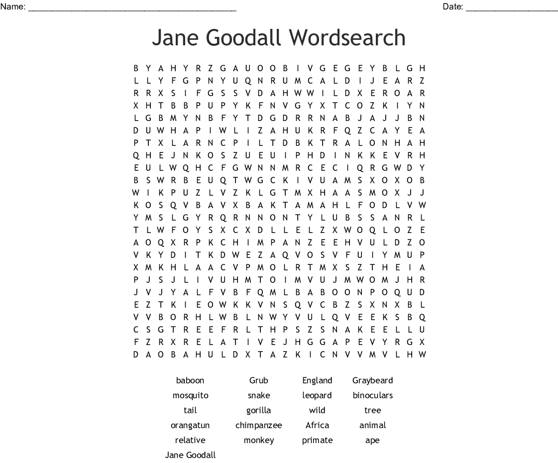 Primates Word Search