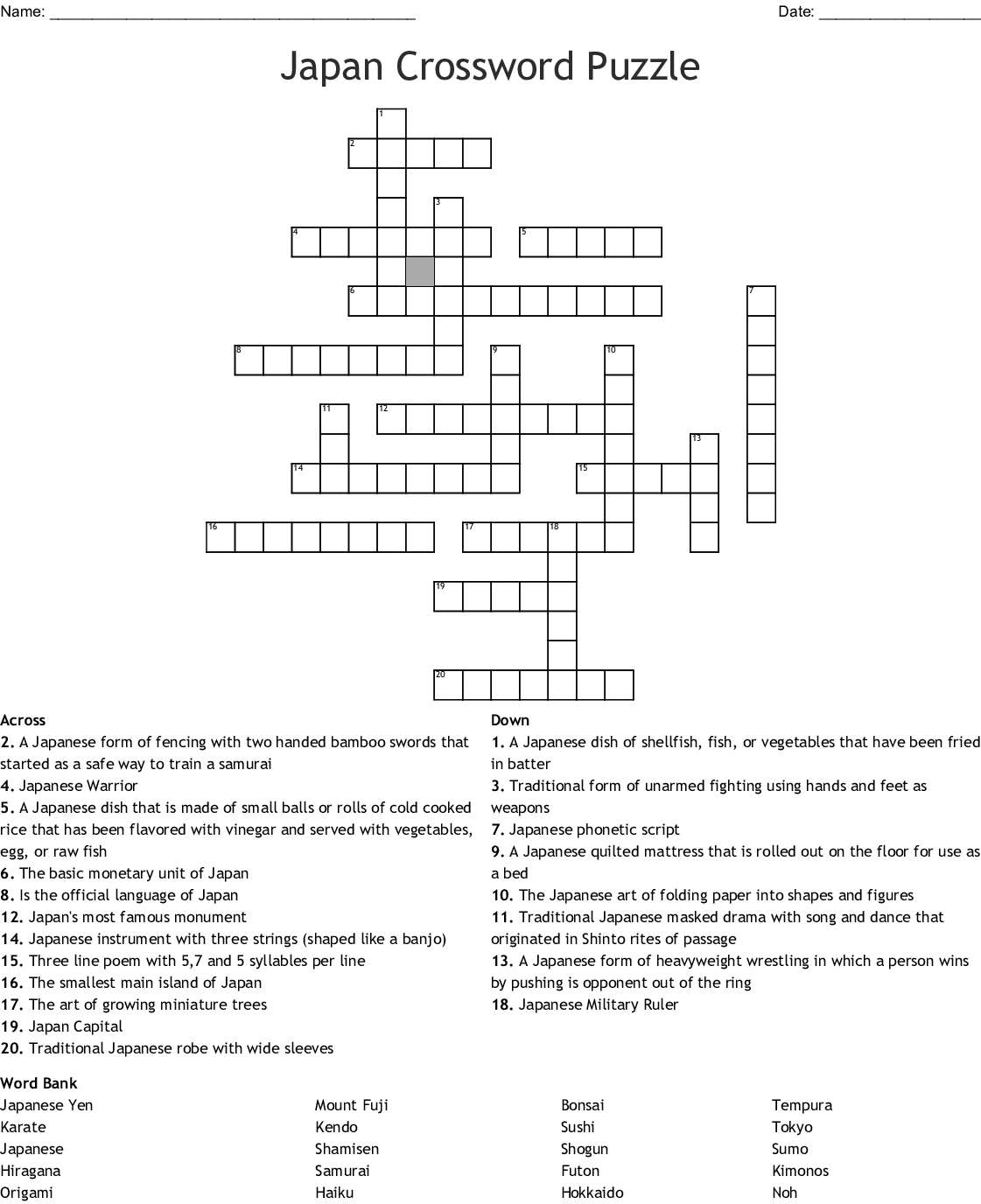 Japan Word Search