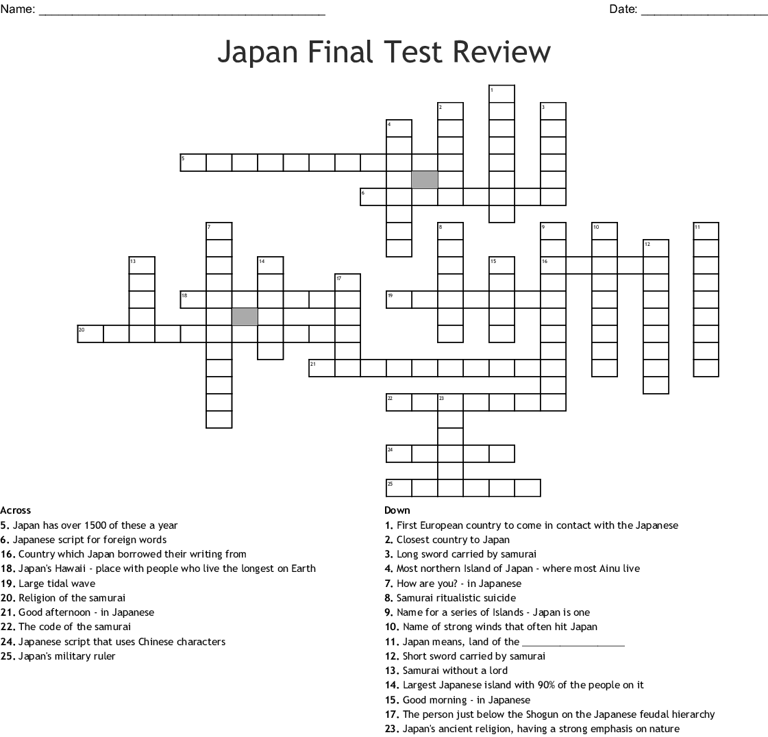 Japan Final Test Review Crossword