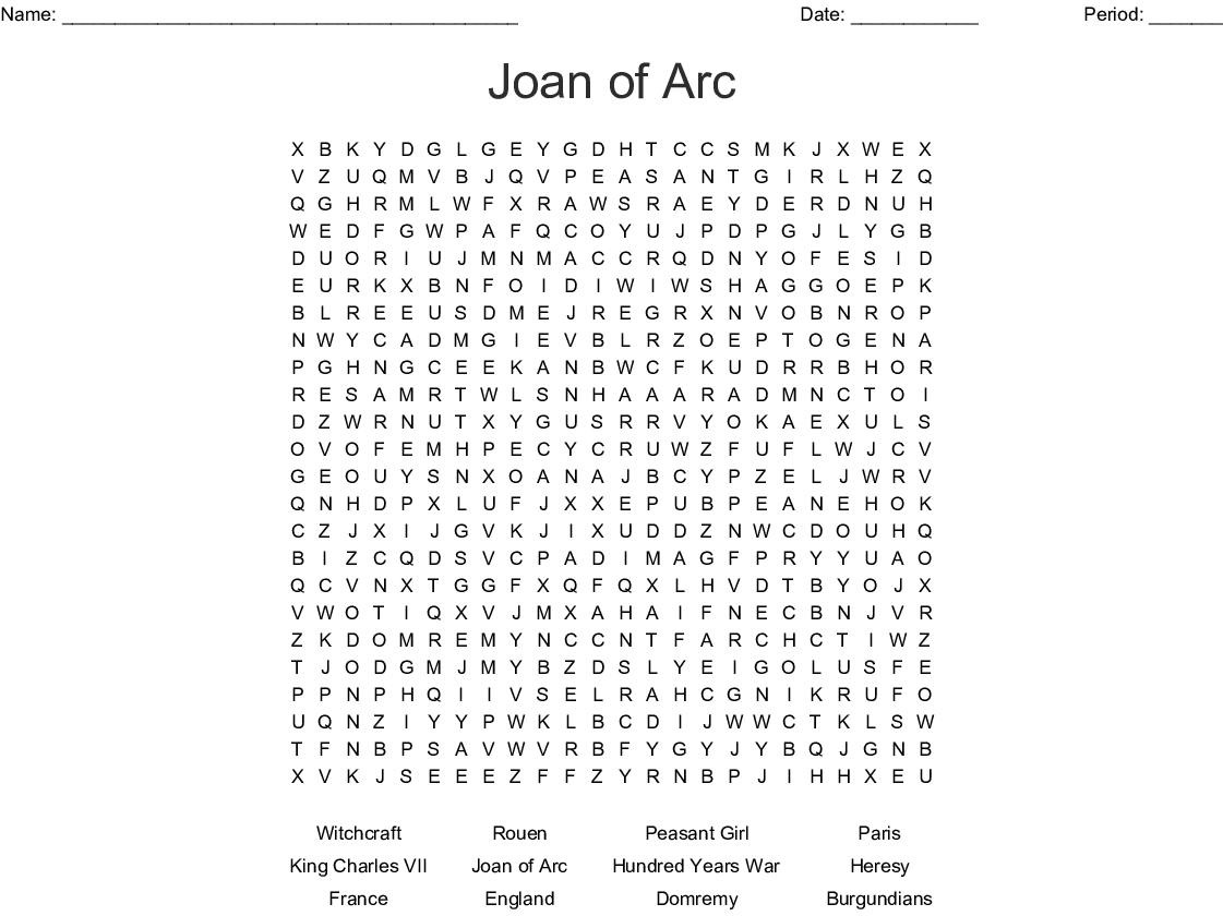Joan Of Arc Word Search