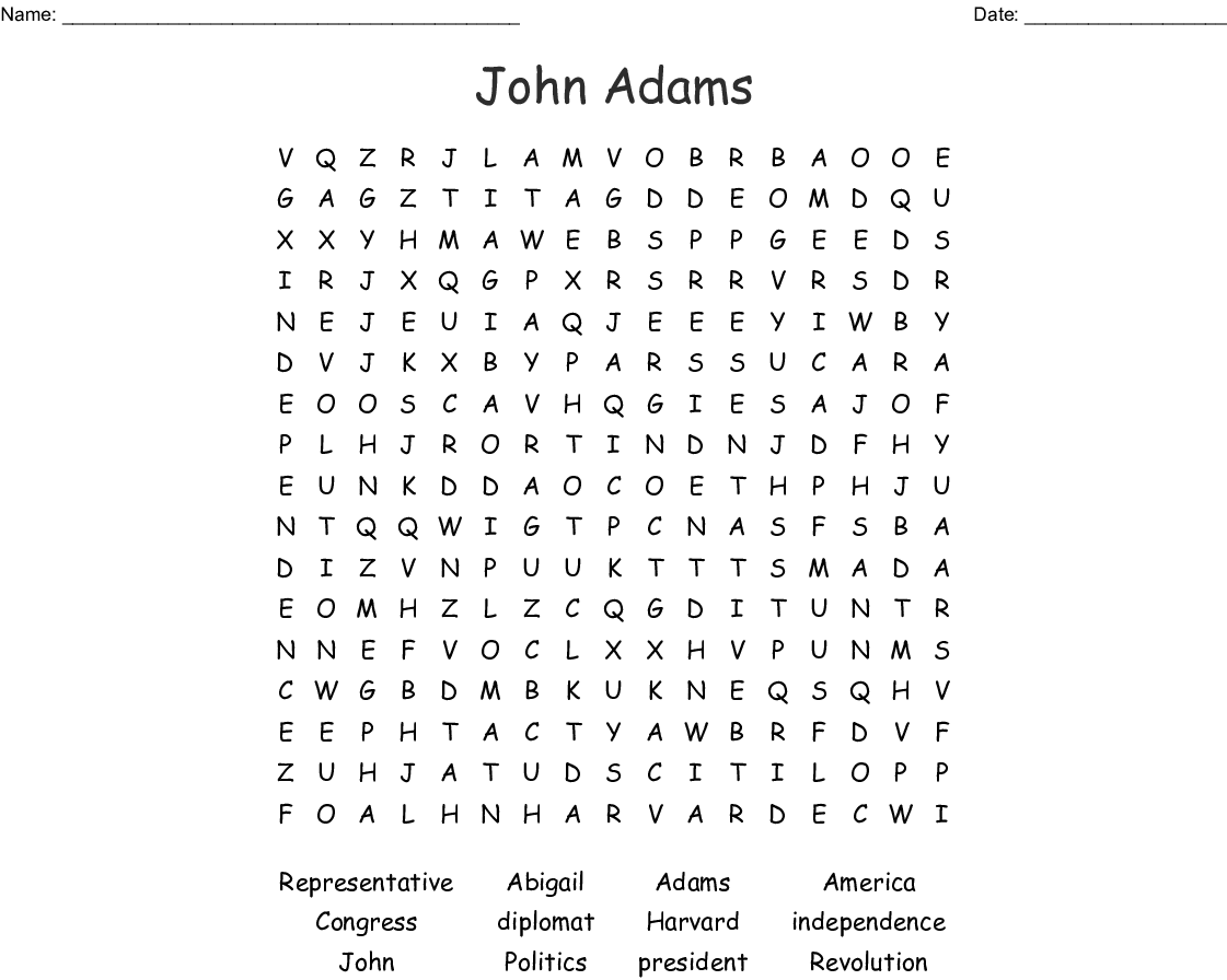 John Adams Word Search