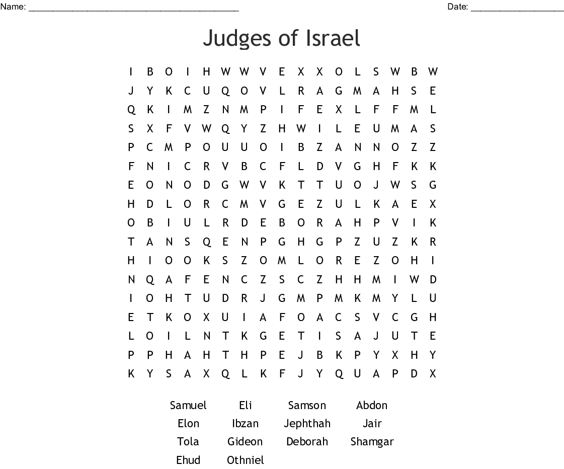 Judges Of Israel Word Search