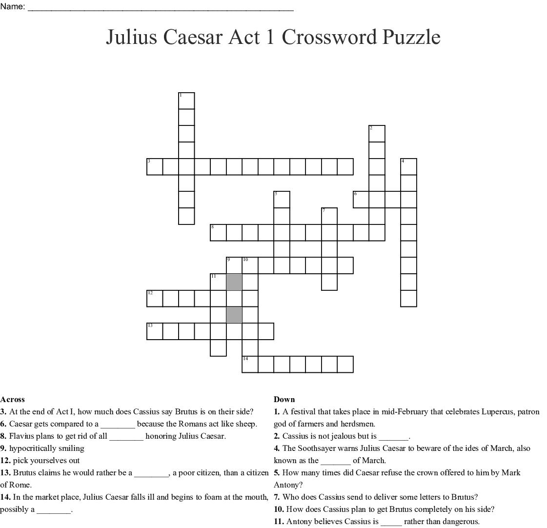 Julius Caesar Act 1 Crossword Puzzle