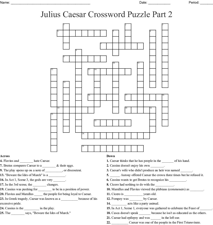 Julius Caesar Crossword Puzzle Part 2