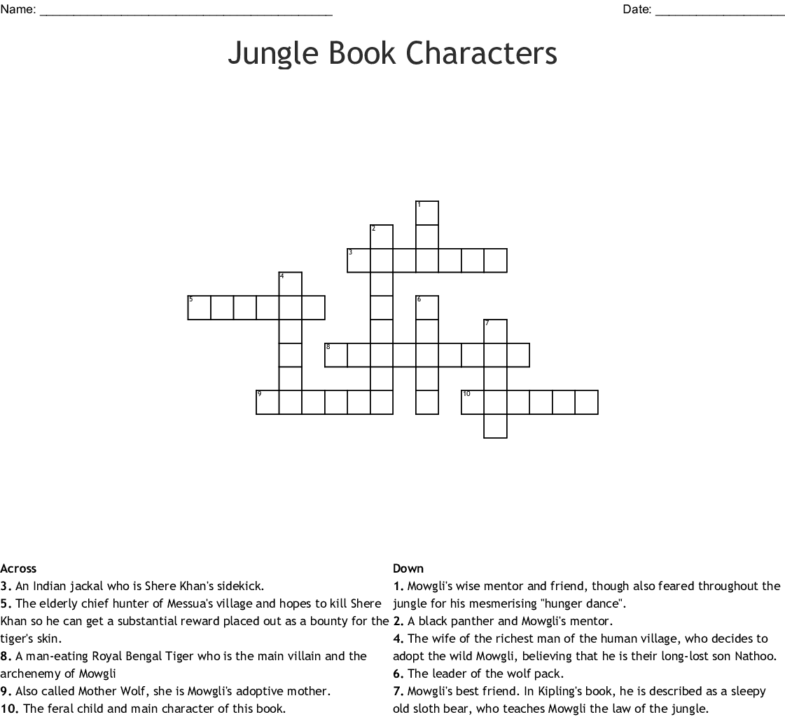 The Jungle Book By Rudyard Kipling Word Search