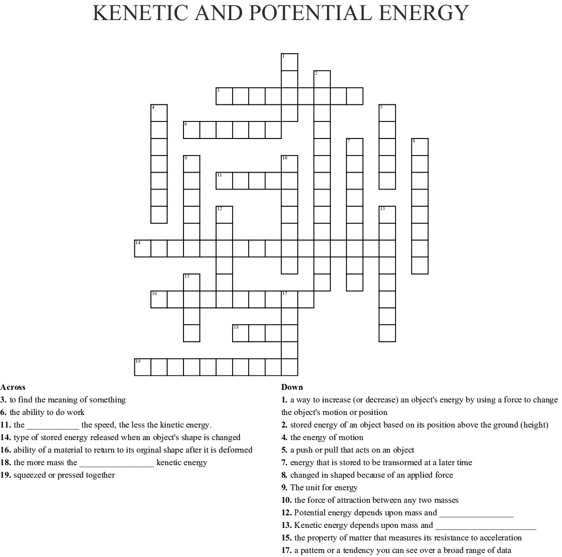 Kenetic And Potential Energy Crossword