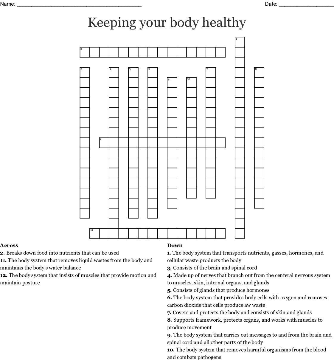 Keeping Your Body Healthy Crossword