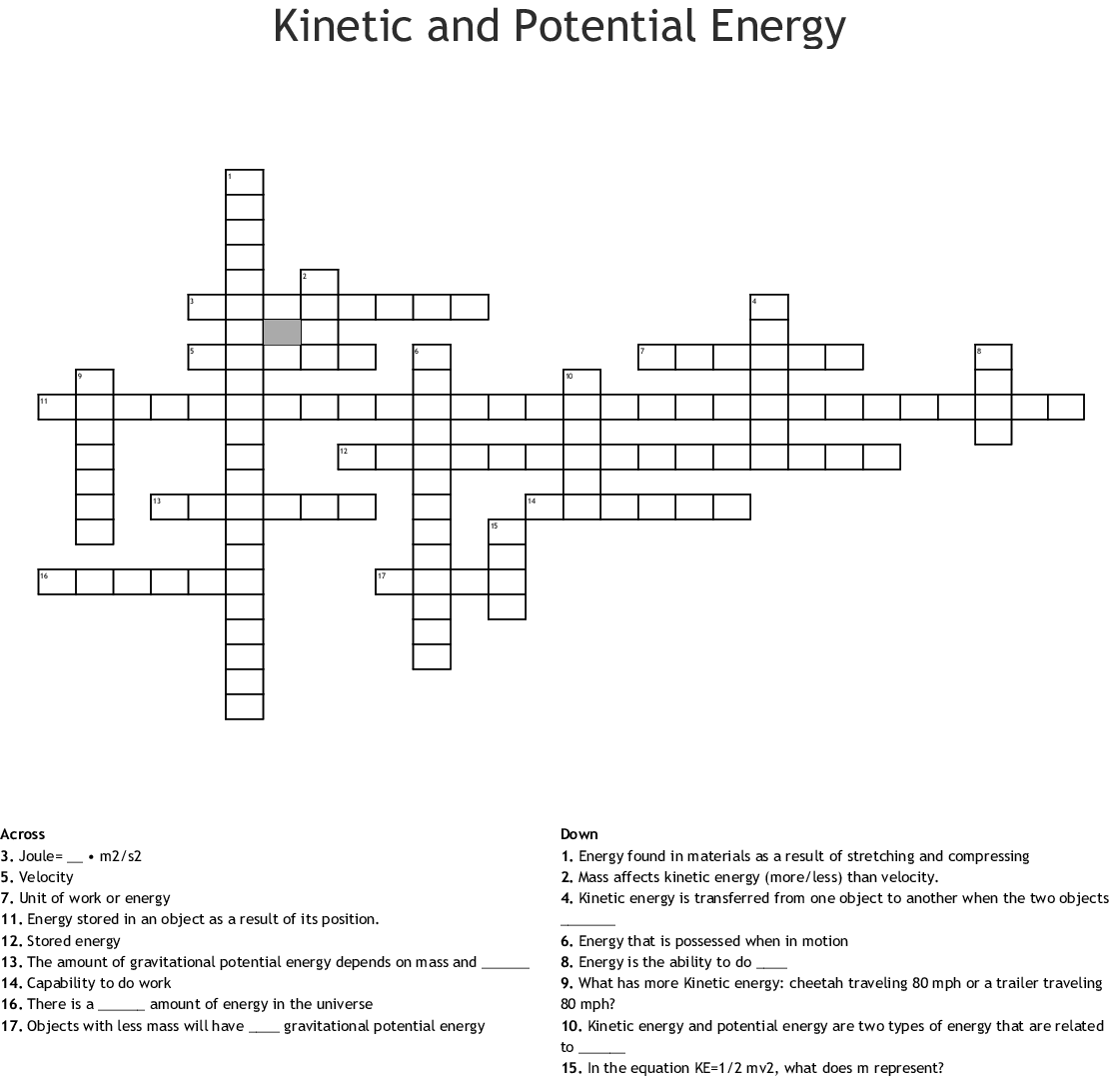 Kinetic And Potential Energy Crossword