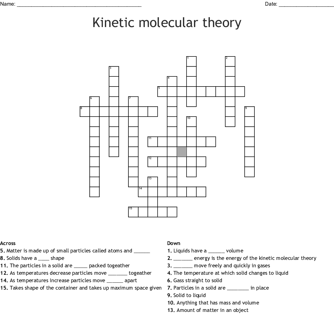 Kinetic Molecular Theory Worksheet