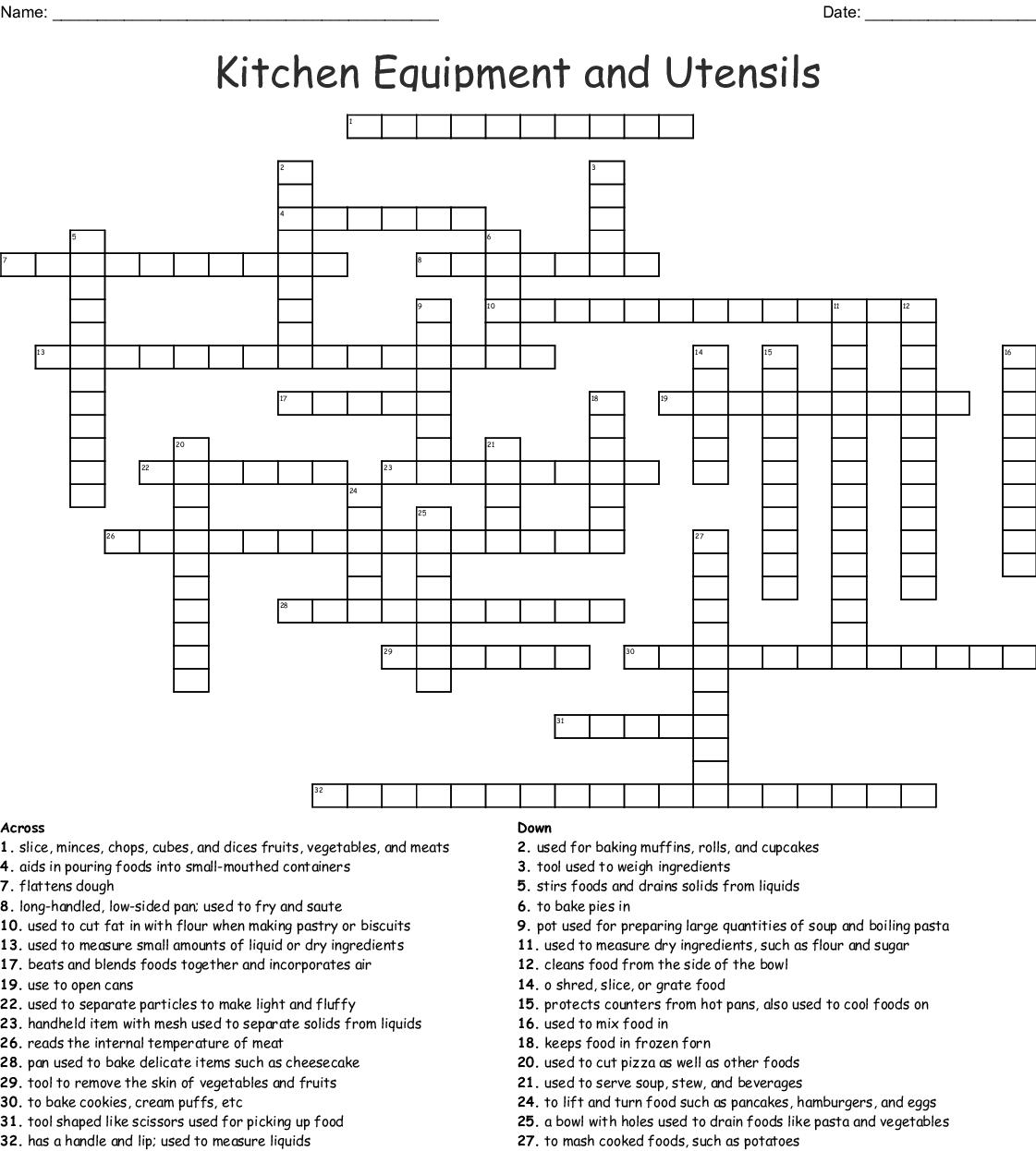 Kitchen Utensils Crossword Activity 1 Answers