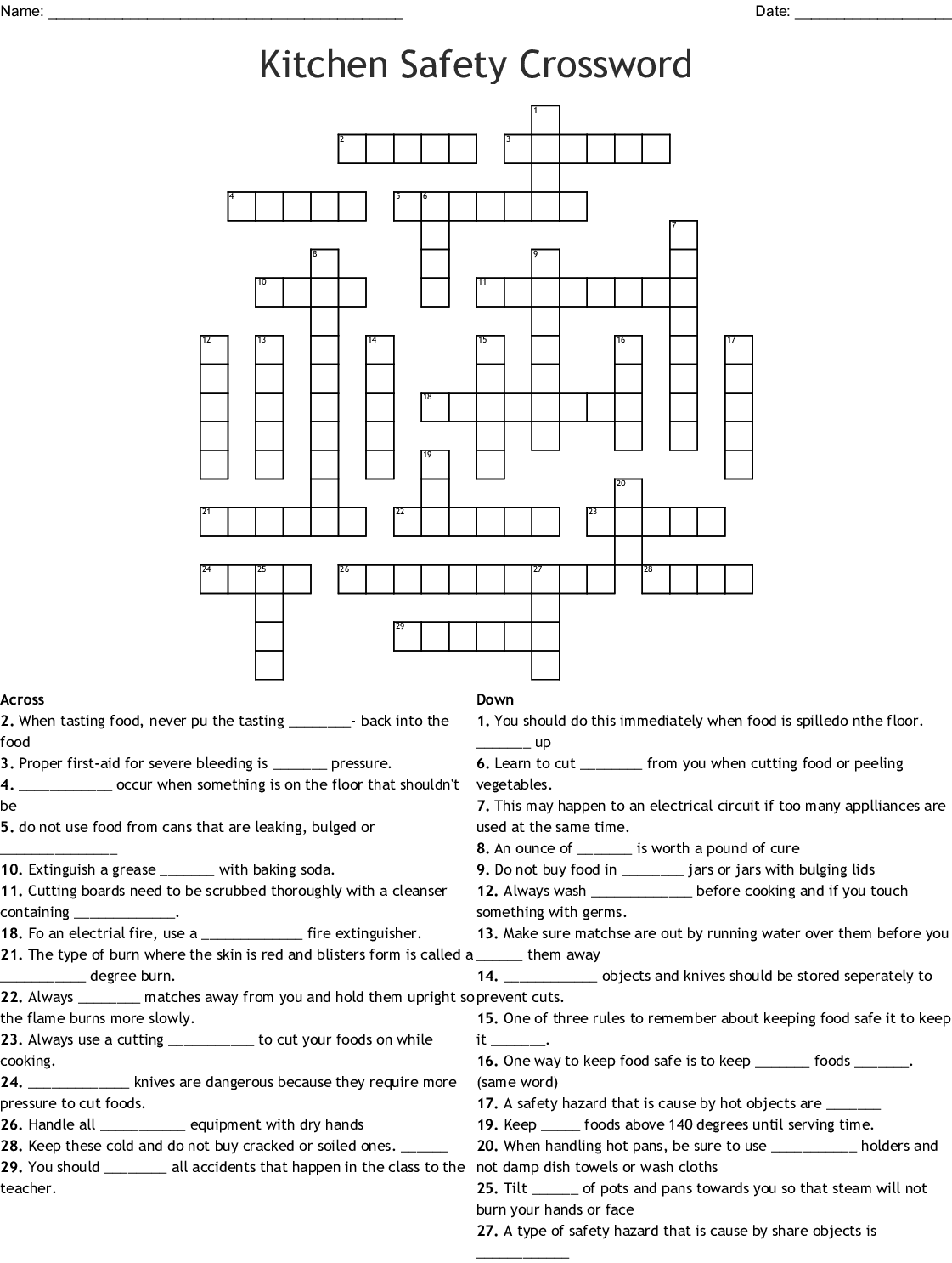 Workplace Safety Crossword