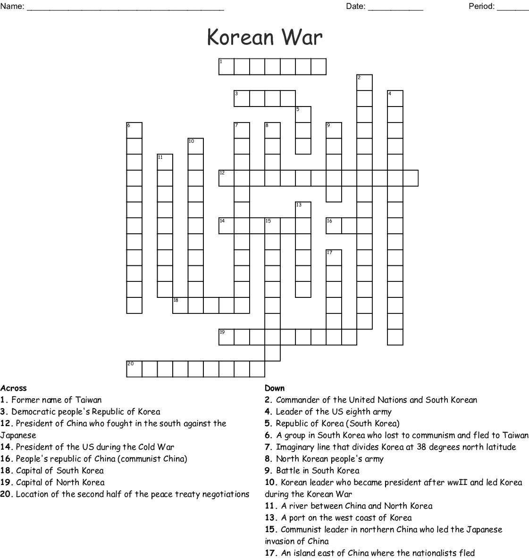Korean War Crossword