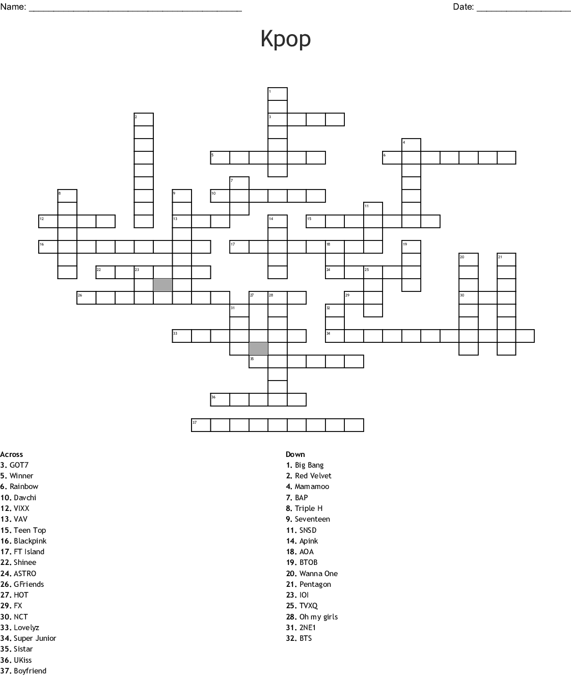 Kpop Boy Bands Word Search