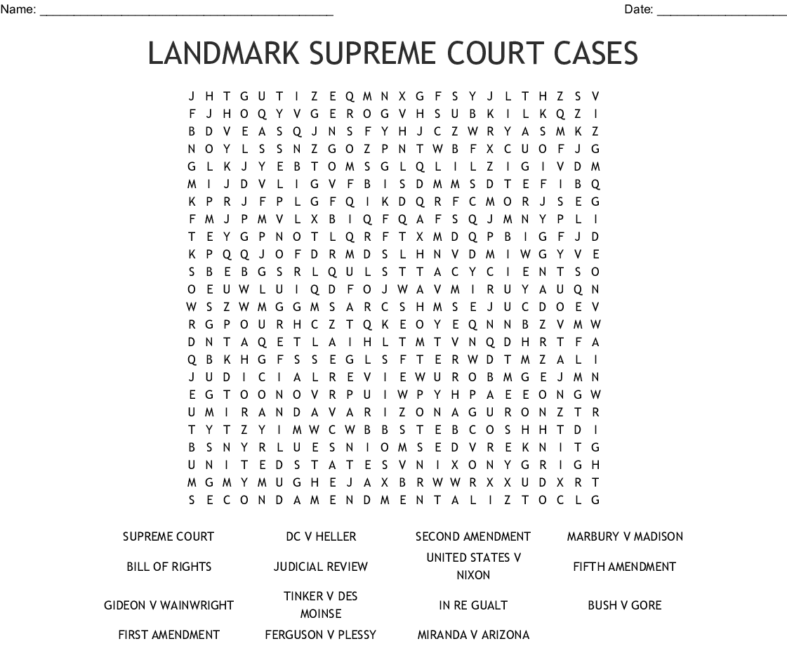 Landmark Supreme Court Cases Word Search