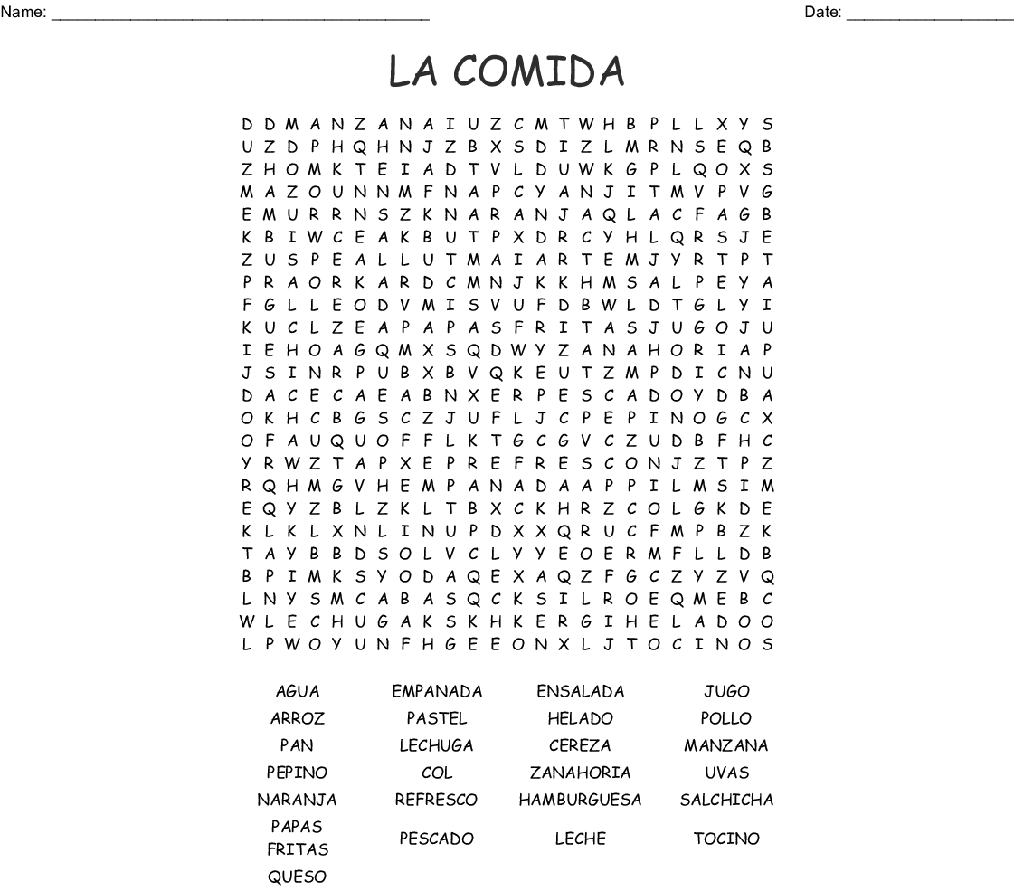 Mexican Food Word Search