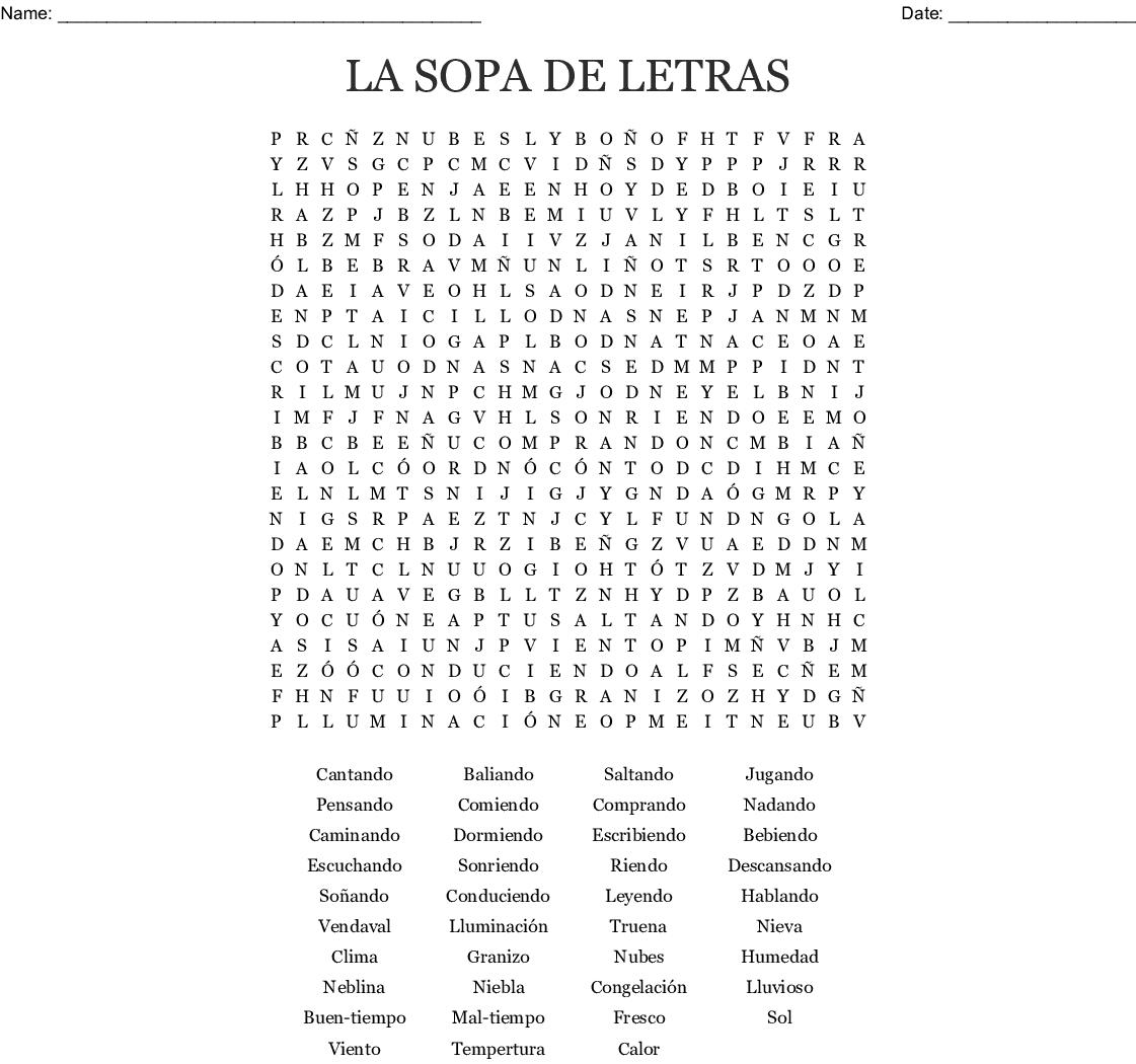 La Sopa De Letras Word Search