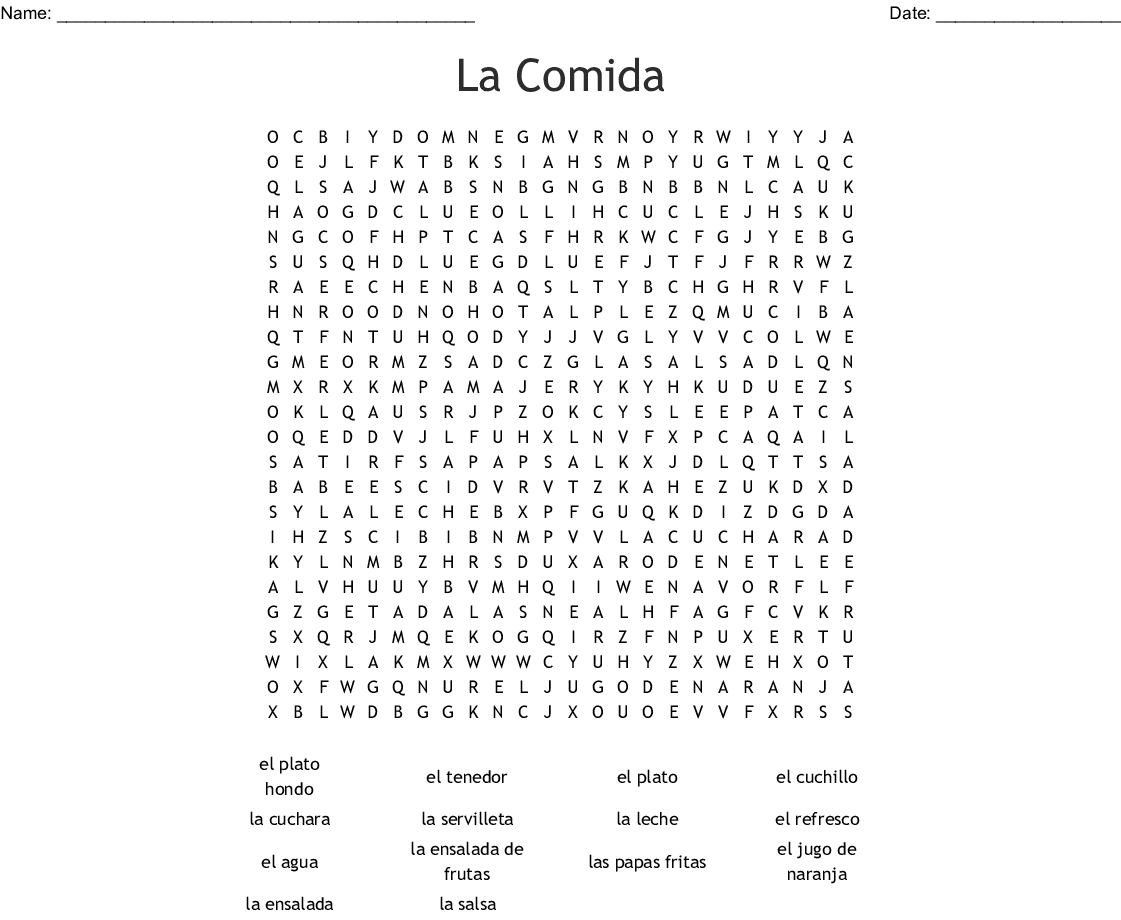 Food In Spanish Crossword Puzzle Answers