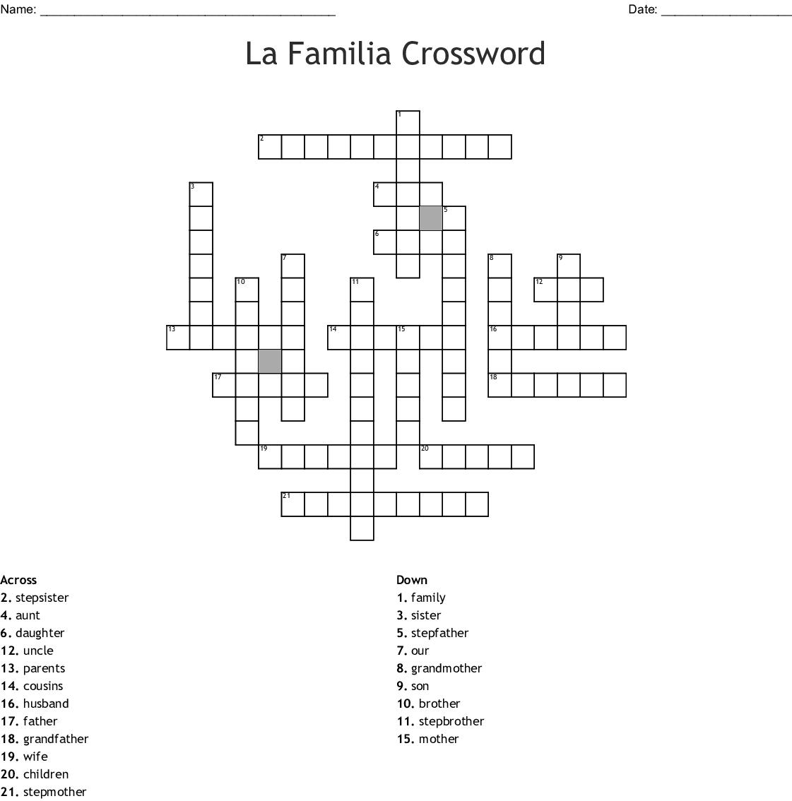 La Familia Hispana Worksheet Answers
