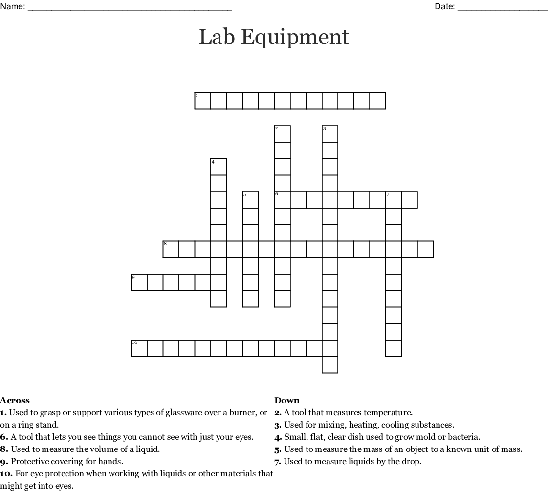 Lab Equipment Crossword