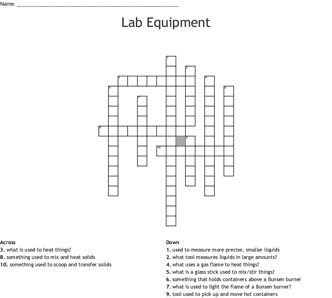 Lab Equipment Crossword