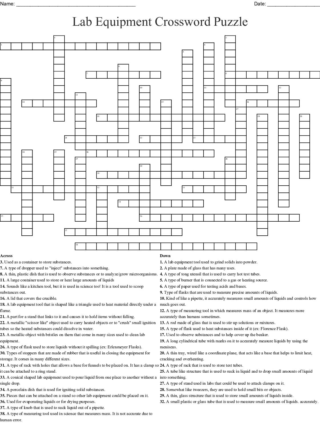 Lab Equipment Crossword Puzzle