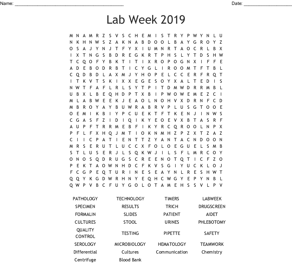 Lab Week Word Search