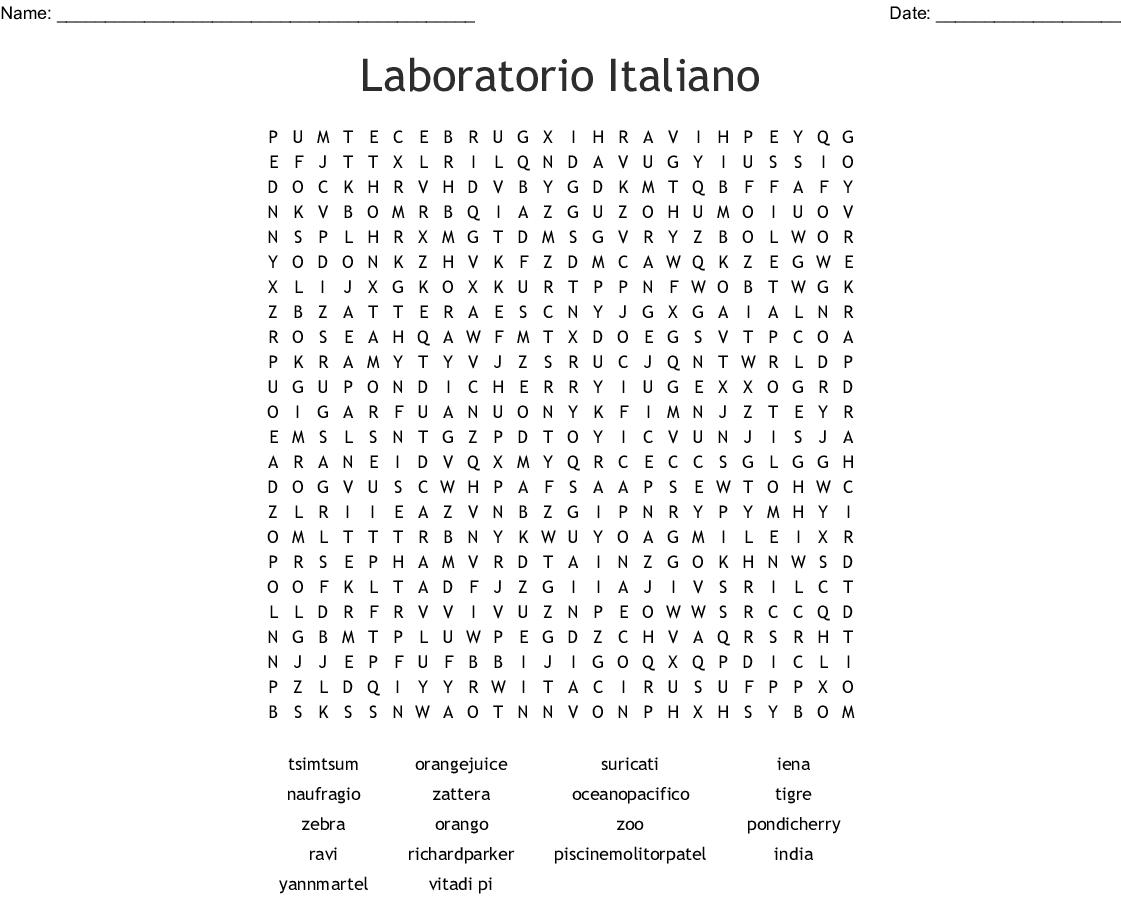 Laboratorio Italiano Word Search